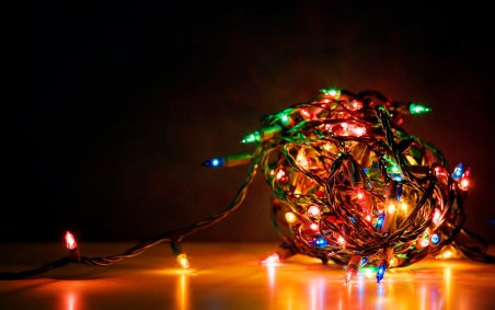 A tangled ball of Christmas lights