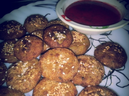 sweet potato cutlets with strawberry dip